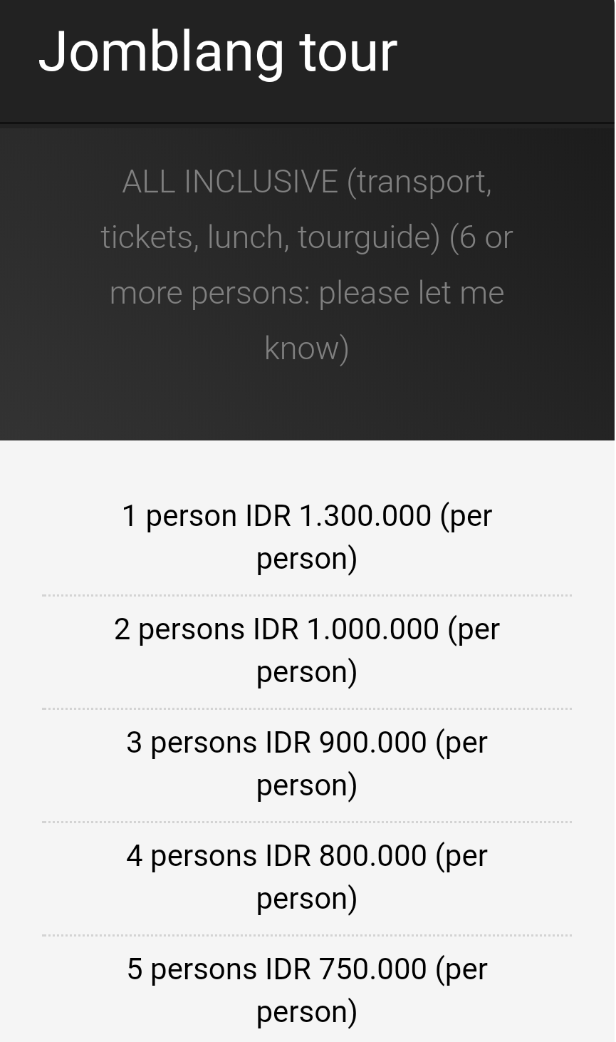 Jomblang tour price costs
