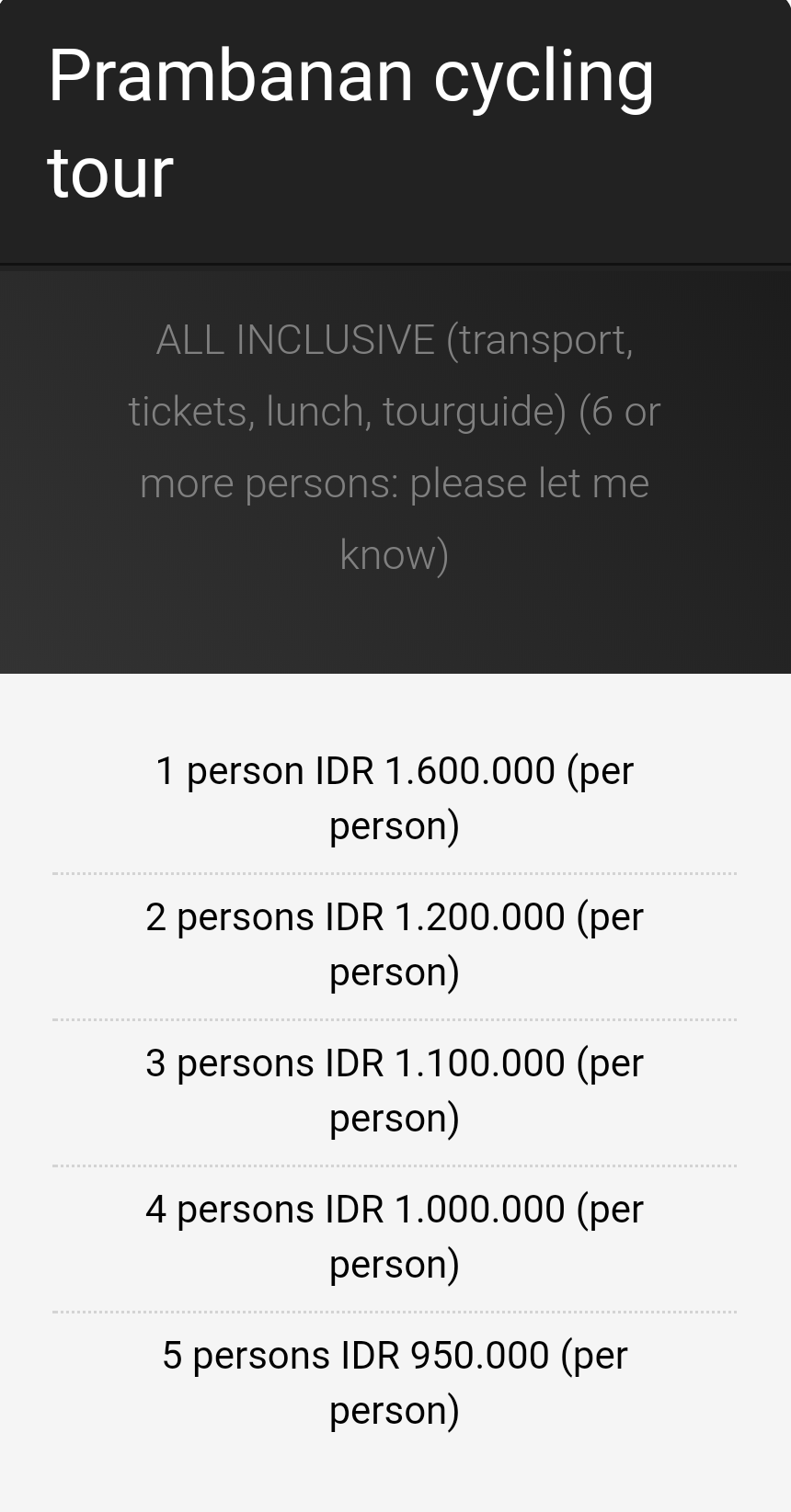 prambanan cycling tour price costs
